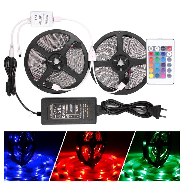 Light LED pásek sada 10 metrů 3528 60LED/m IP20 4.8W/m RGB