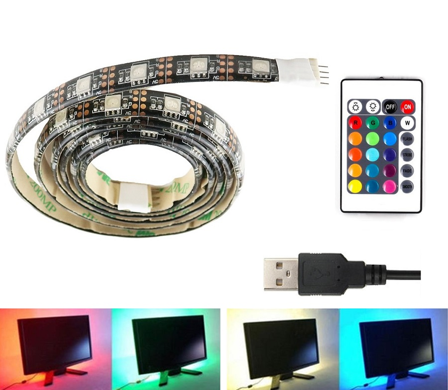 Light LED pásek USB sada 5 metrů SMD5050 30LED/1m, IP65, RGB