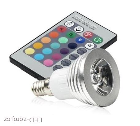 RGB LED E14 3W color + dálk.ovl. set 3 kusy