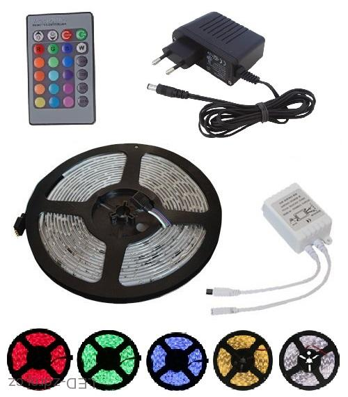 Light LED pásek 3528 60LED/m IP20 4.8W/m RGB, 1m, komplet