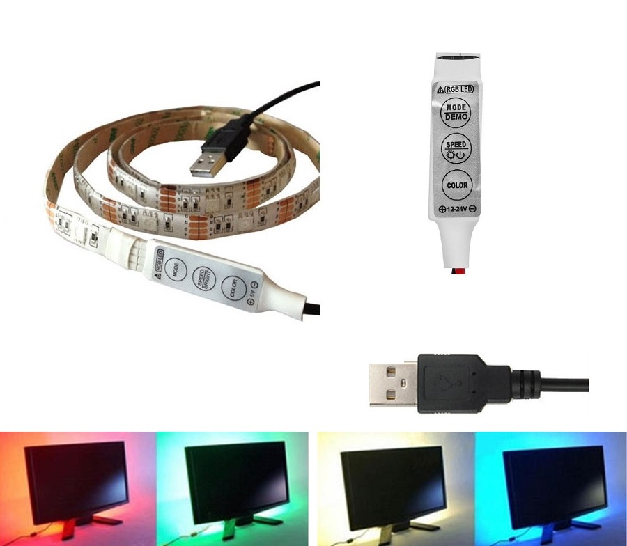 Light LED pásek 5V USB SMD3528 60LED/1m IP65 RGB, 1metr, 3keys