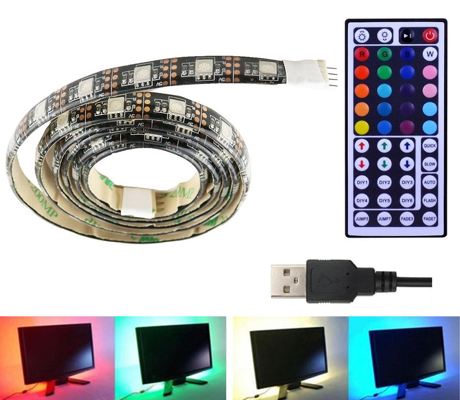 Light LED pásek 5V USB SMD5050 120LED/2m, voděodolný, RGB, 2m 44-DO