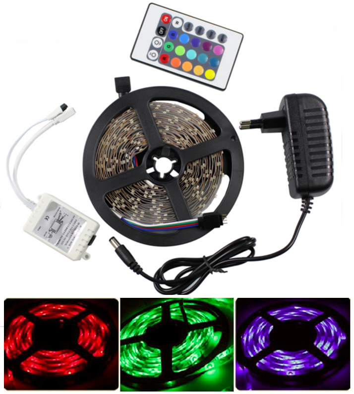 Light LED pásek 3528 60LED/m IP20 4.8W/m RGB, 1,5m, komplet