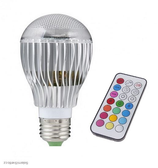 Žárovka LED E27 RGB 5W color + dálk.ovl.