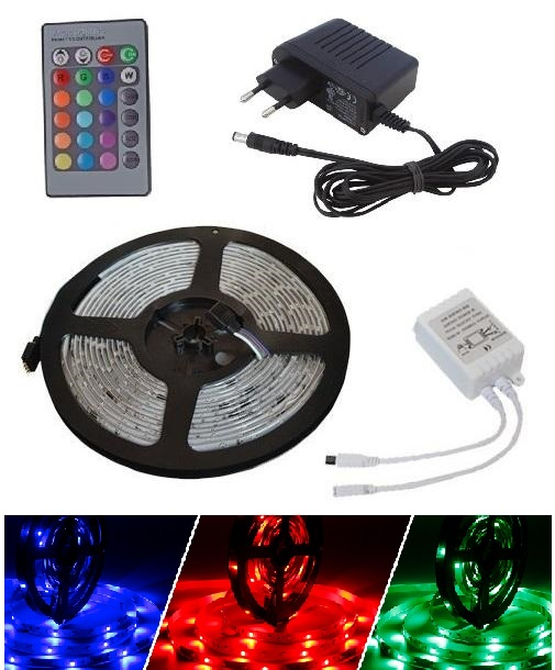 Light LED pásek 3528 60LED/m IP65 4.8W/m RGB, 3m, komplet