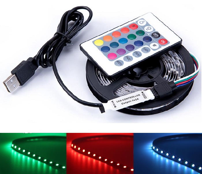 Light LED pásek 5V USB SMD3528 30LED/0,5m IP65 RGB, 0,5metru